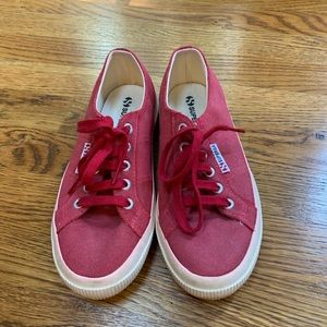 Berry/Red suede like material Superga sneakers
